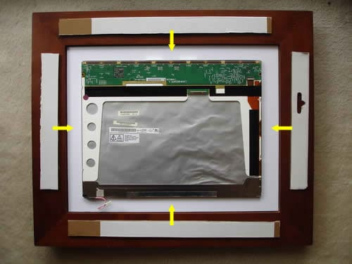 Place LCD screen inside picture frame