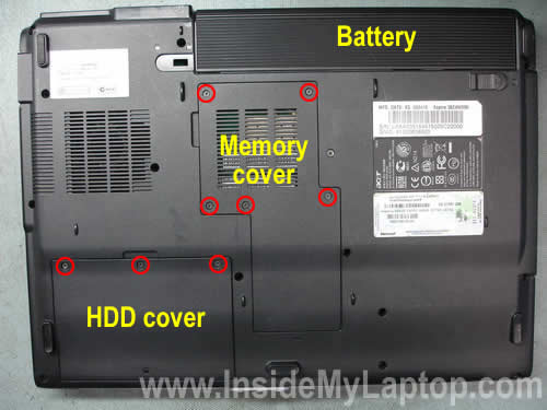 Remove battery hard drive cover memory cover