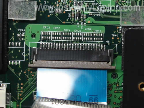 Keyboard cable connector unlocked