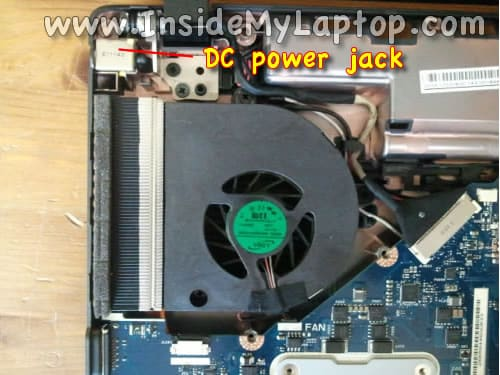 Access cooling fan and DC power jack