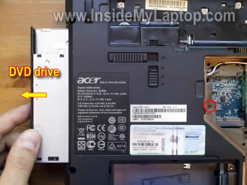 Remove CD/DVD drive