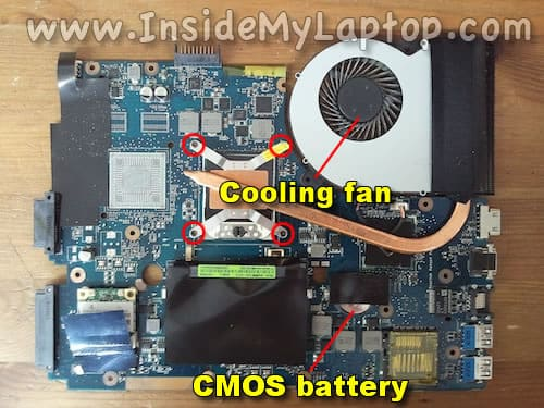CMOS battery and fan