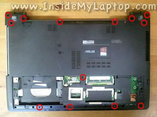 Remove screws from laptop bottom