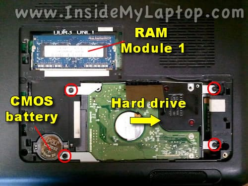 Access hard drive, memory, CMOS battery