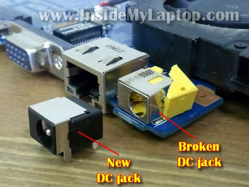 Fix Gateway NV power jack