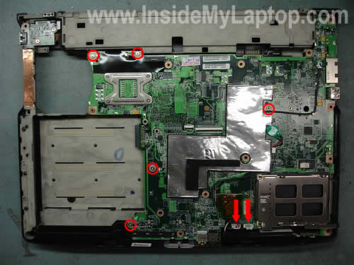 Remove screws from system board