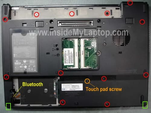 Remove screws from bottom of laptop