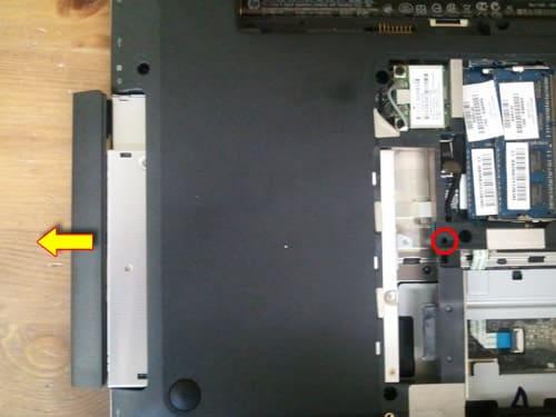 Remove laptop optical drive