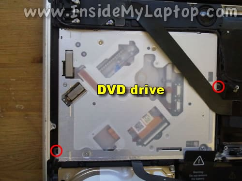Remove two more DVD drive screws