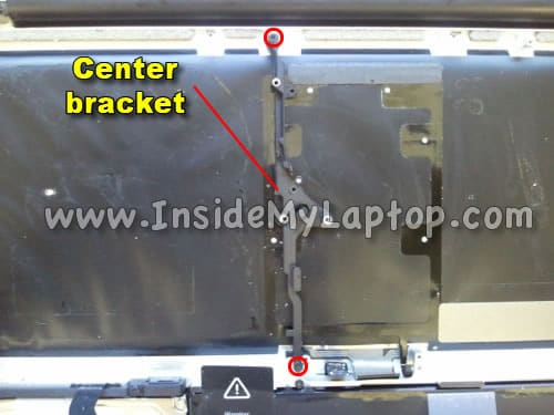 Remove two screws from center bracket