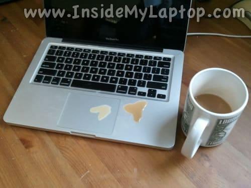 Liquid spilled on MacBook Pro laptop