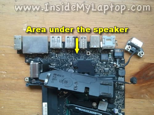 Inspect area under the speaker