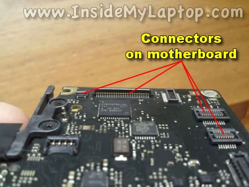 Inspect motherboard connectors for liquid damage & Fix MacBook Pro liquid spill yourself | Inside my laptop azcodes.com