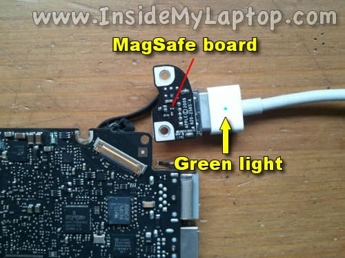 Connect AC adapter to MagSafe board