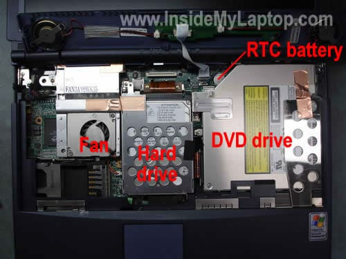 Hard drive, cooling fan, DVD drive