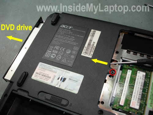 Remove CD DVD drive