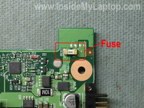 Laptop fuse on motherboard