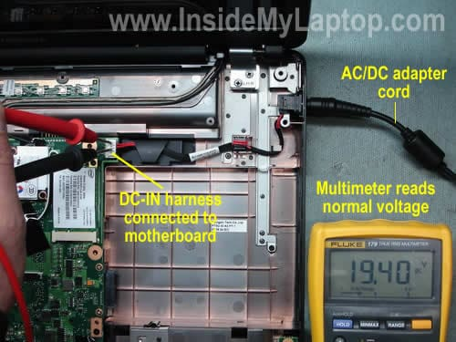 test incoming voltage laptop does not start is it bad power jack or motherboard? inside
