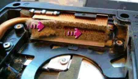 Clogged laptop heatsink