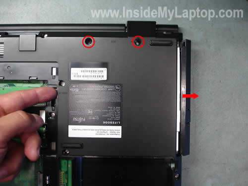 Remove notebook CD DVD drive