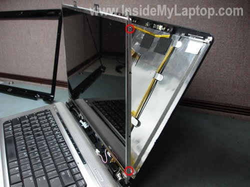Remove screws from LCD brackets