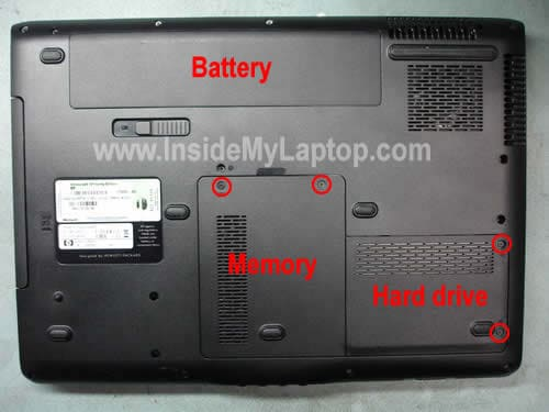 Remove battery memory hard drive covers