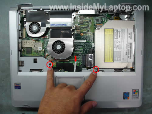 Remove top cover screws