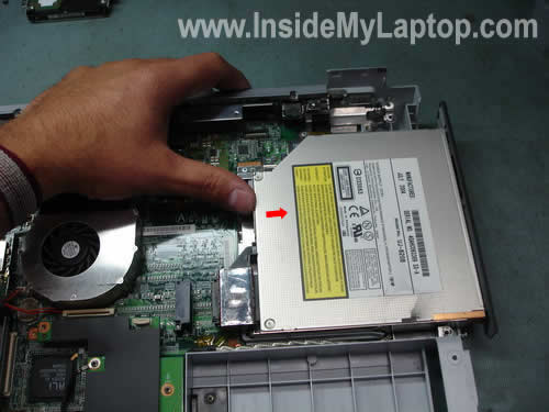 Remove notebook DVD drive