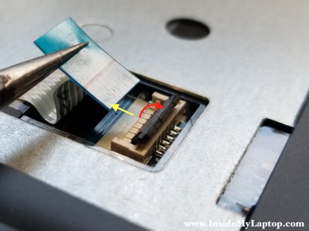 Unplug power button board cable