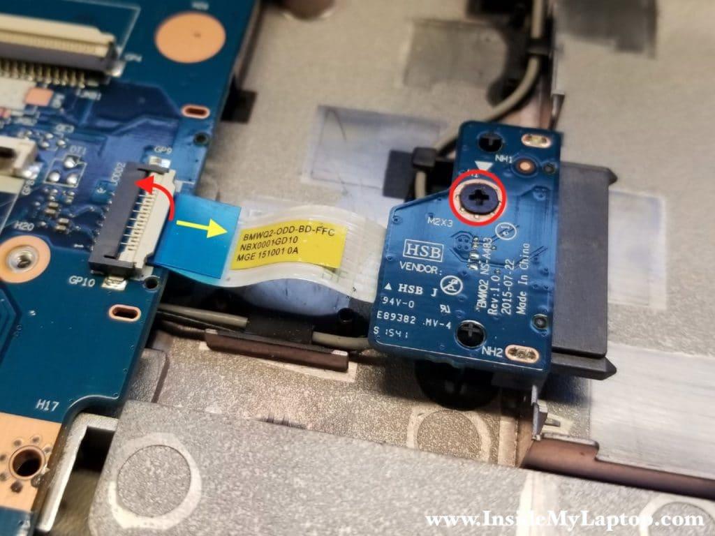 Remove optical drive board
