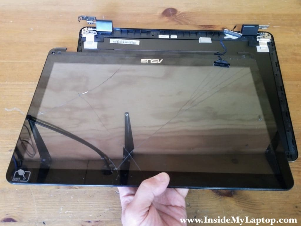LCD screen digitizer assembly removed