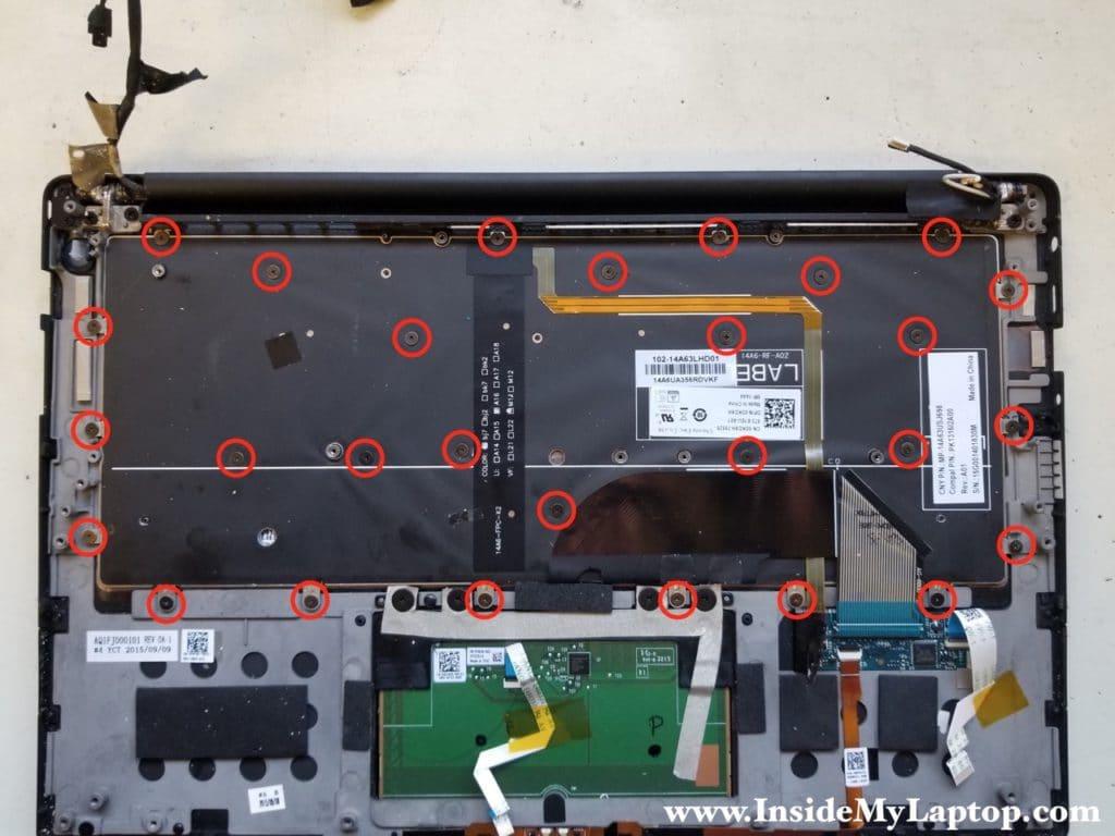 Remove 28 screws securing keyboard