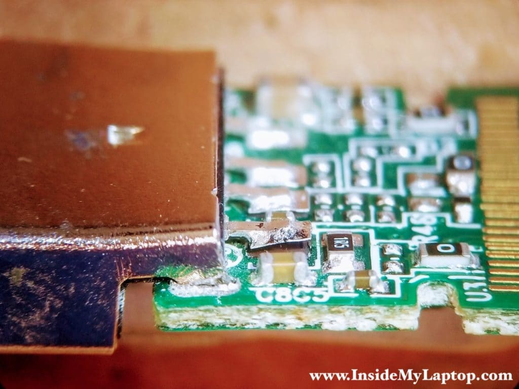 Soldering pad got lifted off of the circuit board