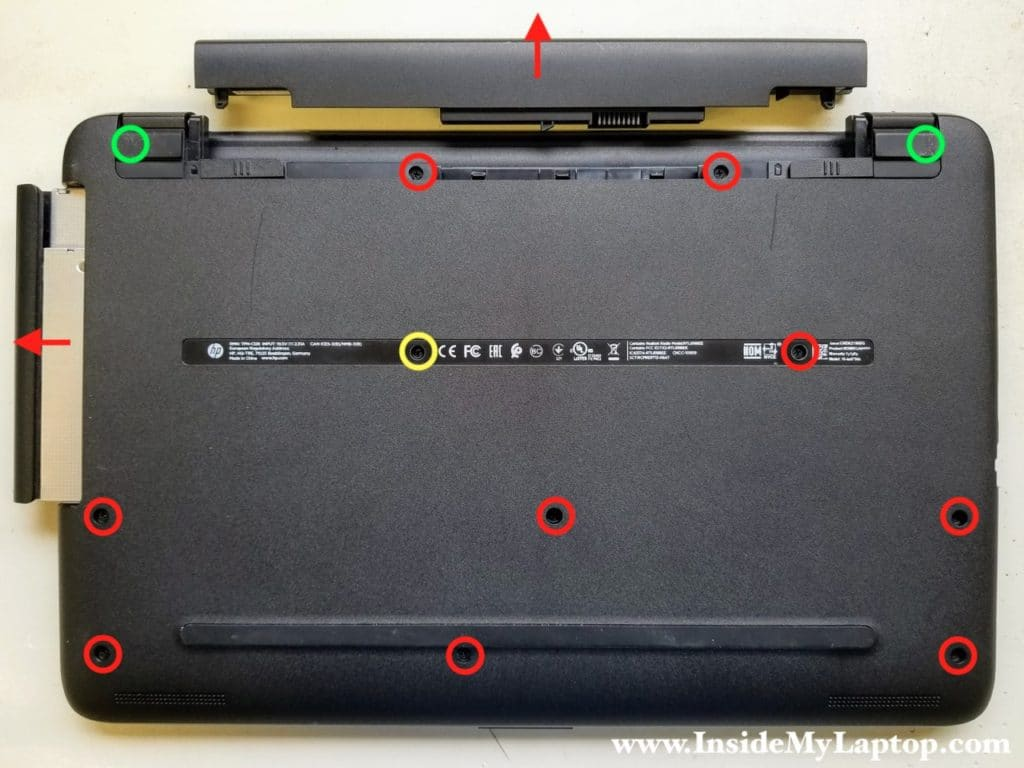 Remove battery and optical drive. Remove bottom screws.
