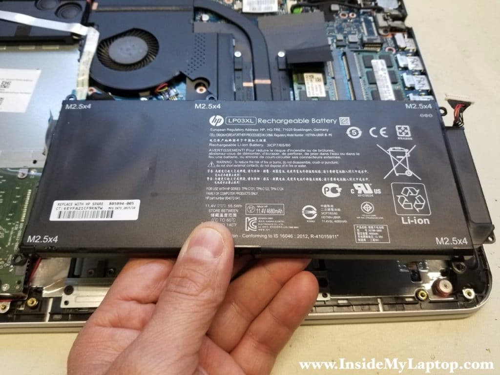 Remove HP Envy 15T-AE100 battery