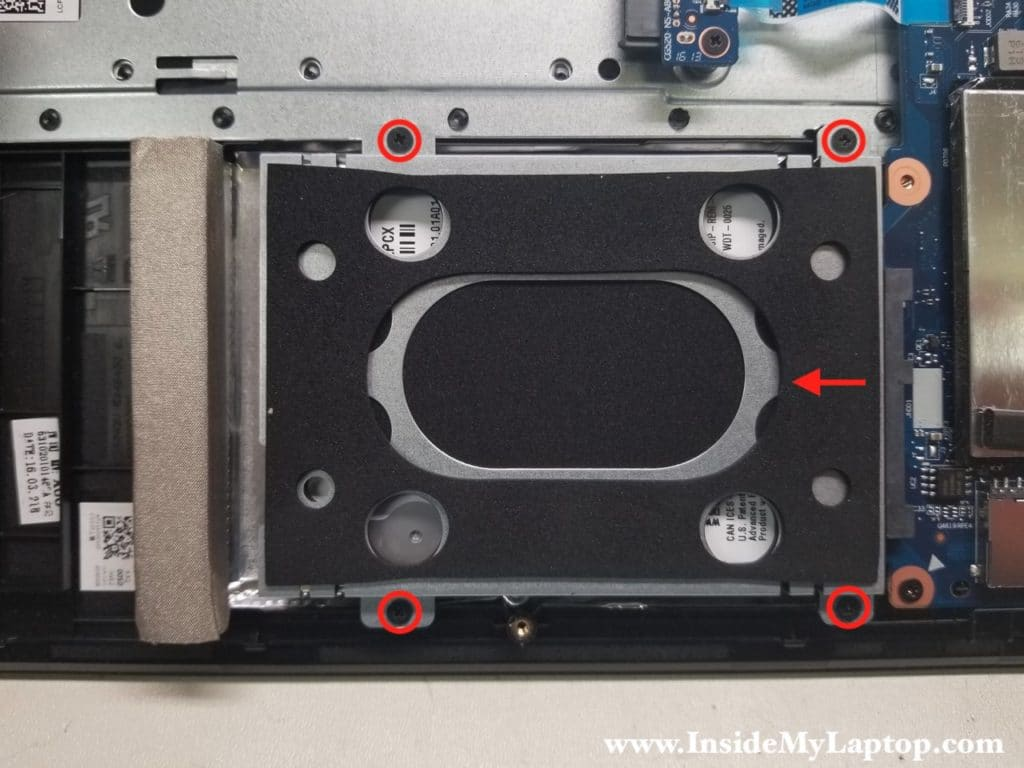 Remove screws from hard drive
