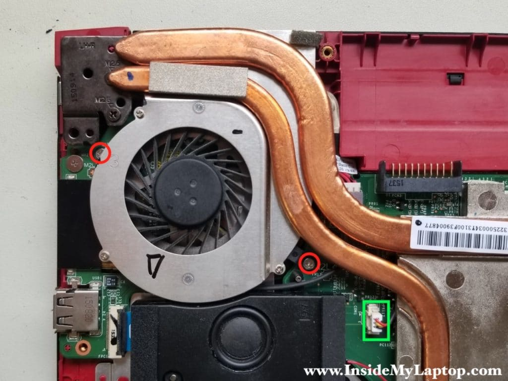 Disconnect right fan cable