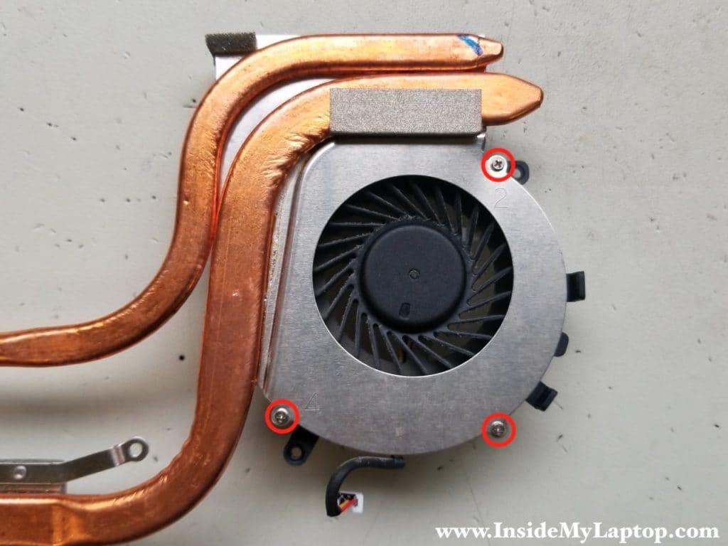 Remove screws fixing fan to heatsink
