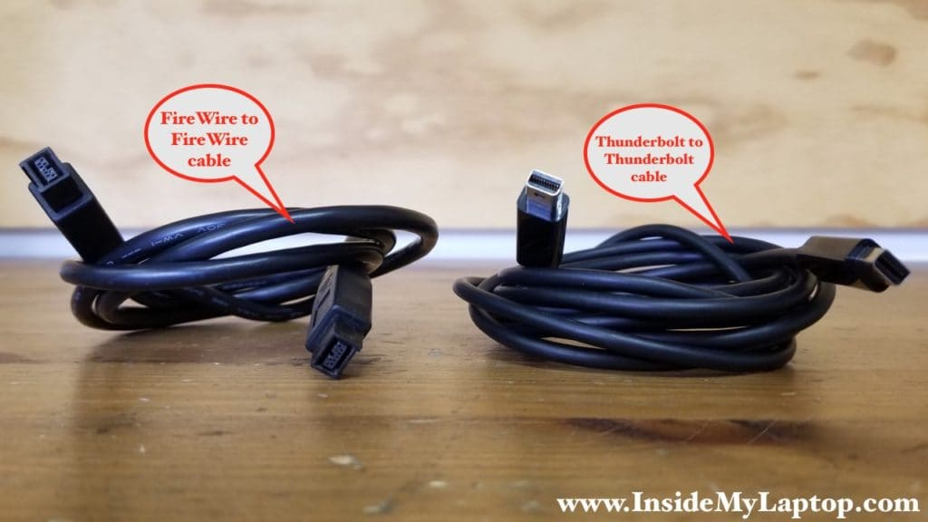 FireWire 800 cable and Thunderbolt cable