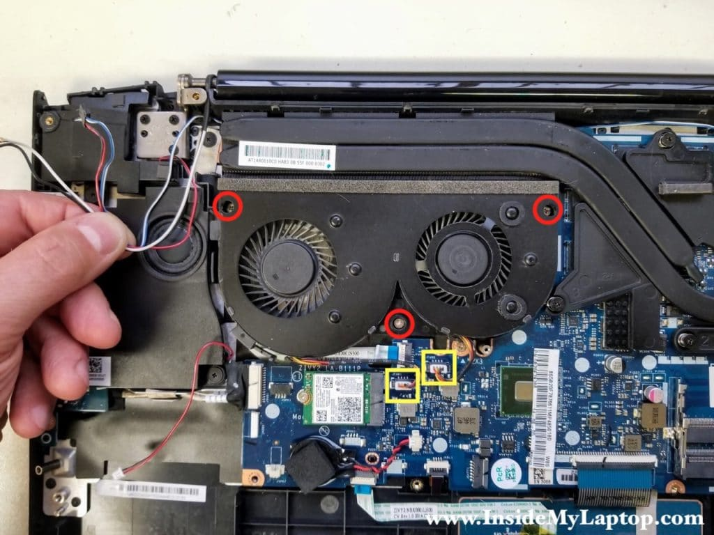 Remove screws from cooling fan assembly