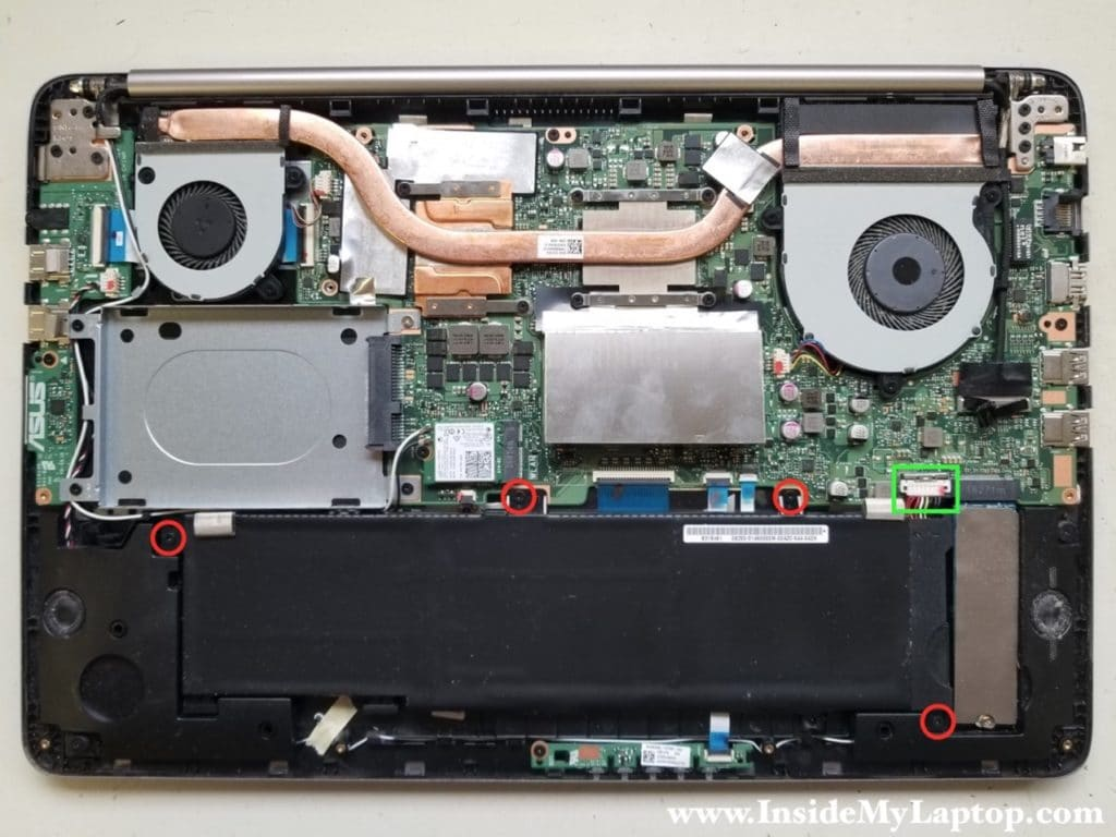 Remove four screws securing laptop battery