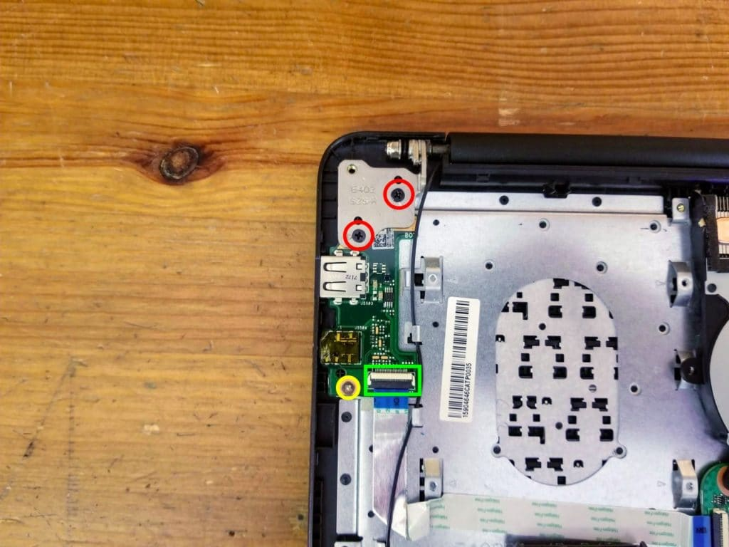 Remove three screws and disconnect the USB audio board cable.