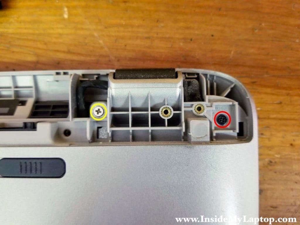 Remove screws under left hinge cover