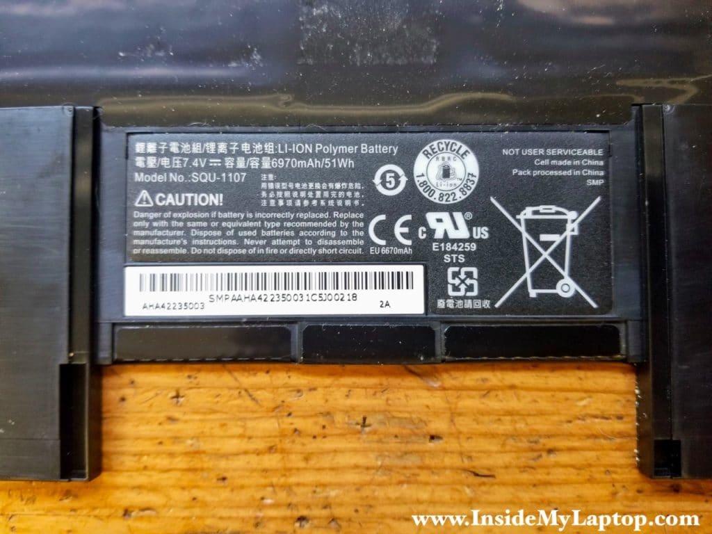 Battery model number SQU-1107