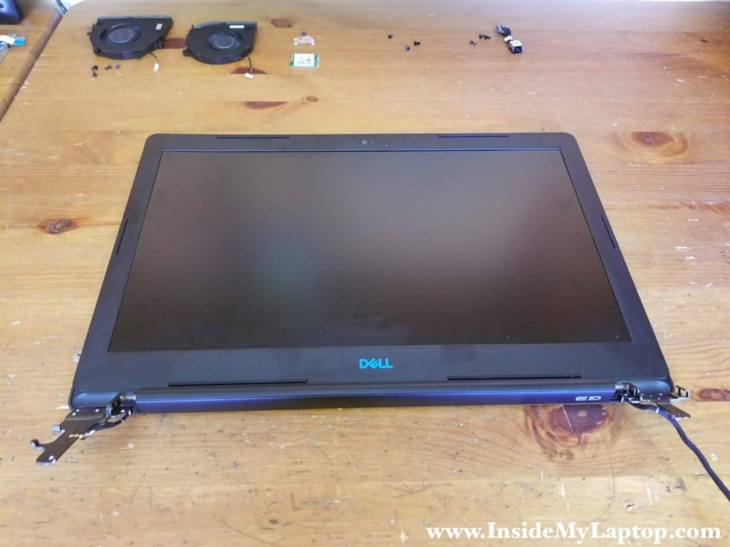 The display panel separated from the laptop base.