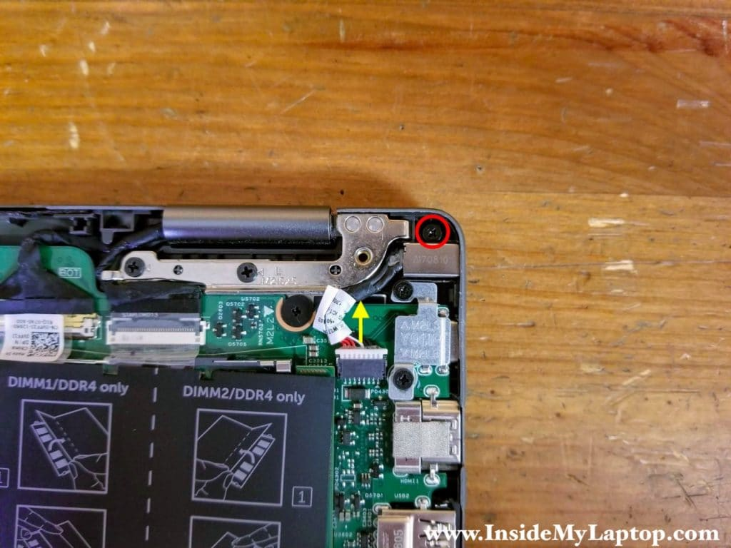 Remove one screw securing the DC power jack and disconnect the DC jack cable.
