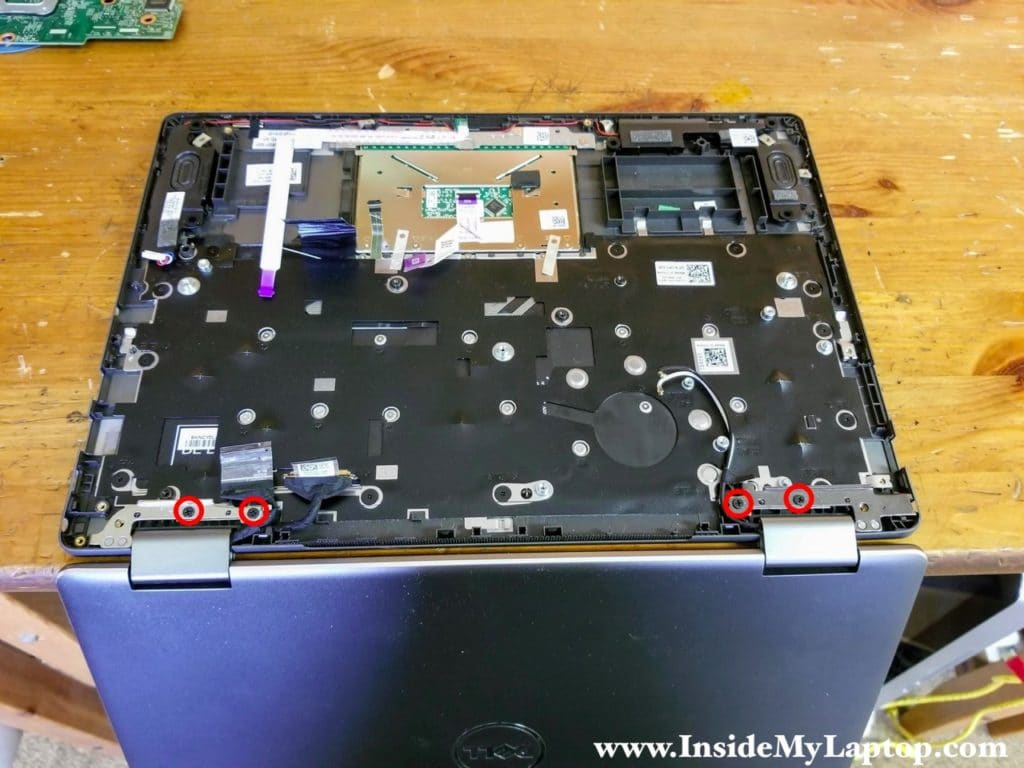 Remove screws from the display hinges.