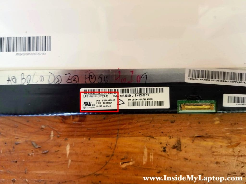 In this particular Lenovo Yoga 2 11 20332 laptop I had the following touchscreen installed: LP116WH6 (SP)(A1).