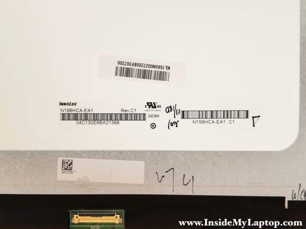 Acer Aspire R 15 (R5-571TG-59VA) LCD screen model: N156HCA-EA1 Rev.C1.