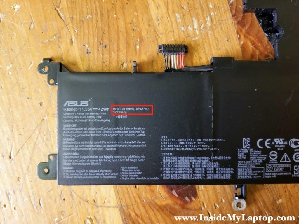 Asus Q405U (Q405UA-BI5T5) battery model: B31N1705-1.
